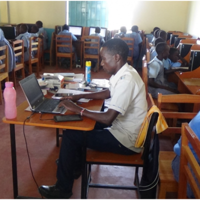 Computer lessons in session. We have 30 computers, 20 of which were donated by Kenya power and lighting company in 2017. While the rest were acquired through Caritas Diocese of Lodwar.